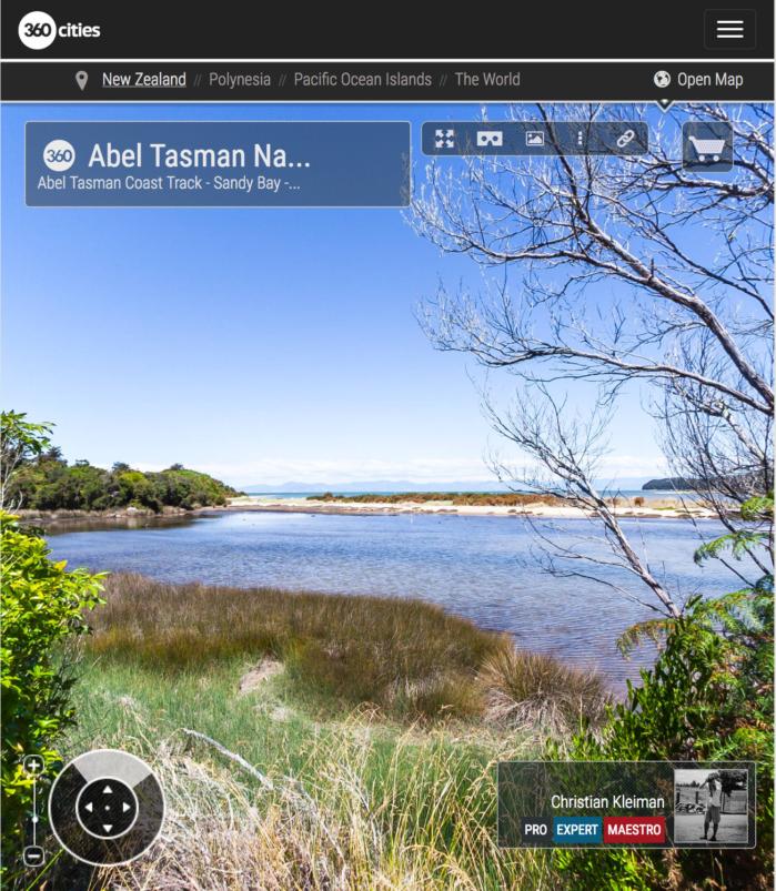 Camino Costero - Parque Nacional Abel Tasman, Nueva Zelanda - Foto Pano 360 VR