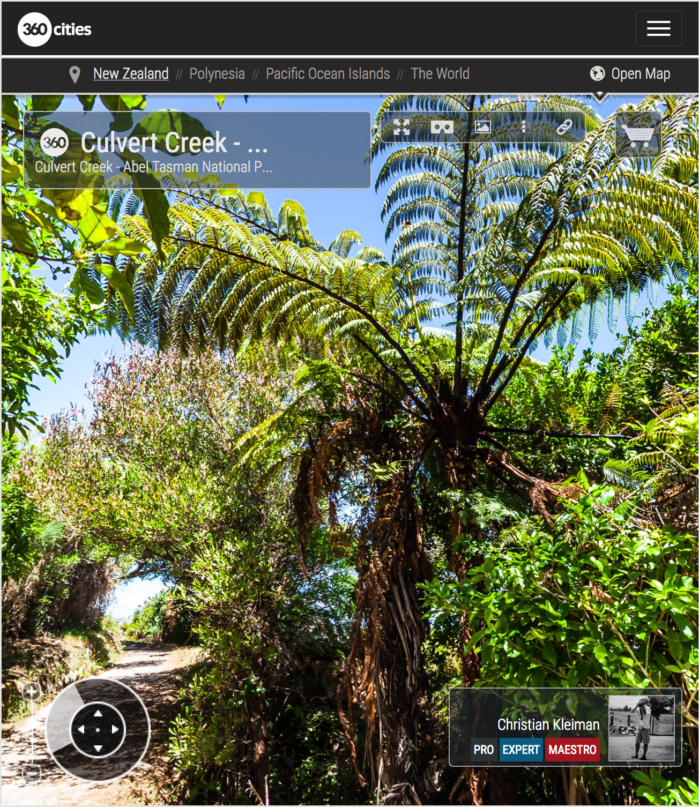 Culvert Creek - Parque Nacional Abel Tasman, Nueva Zelanda - Foto Pano 360 VR
