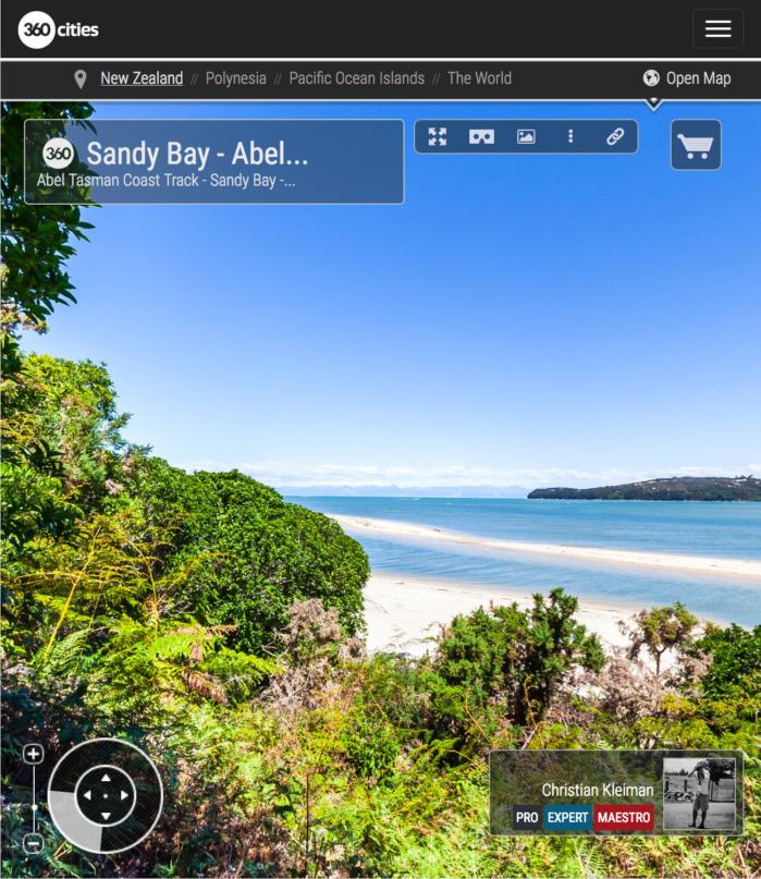 Paisaje Precioso - Parque Nacional Abel Tasman, Nueva Zelanda - Foto Pano 360 VR