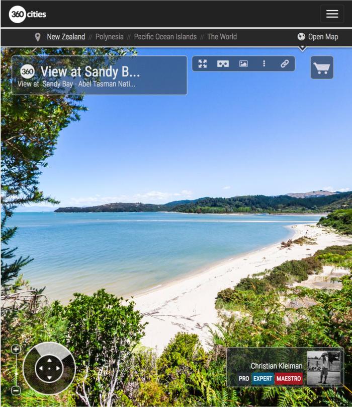View at Sandy Bay - Abel Tasman National Park, New Zealand - 360 VR Pano Photo