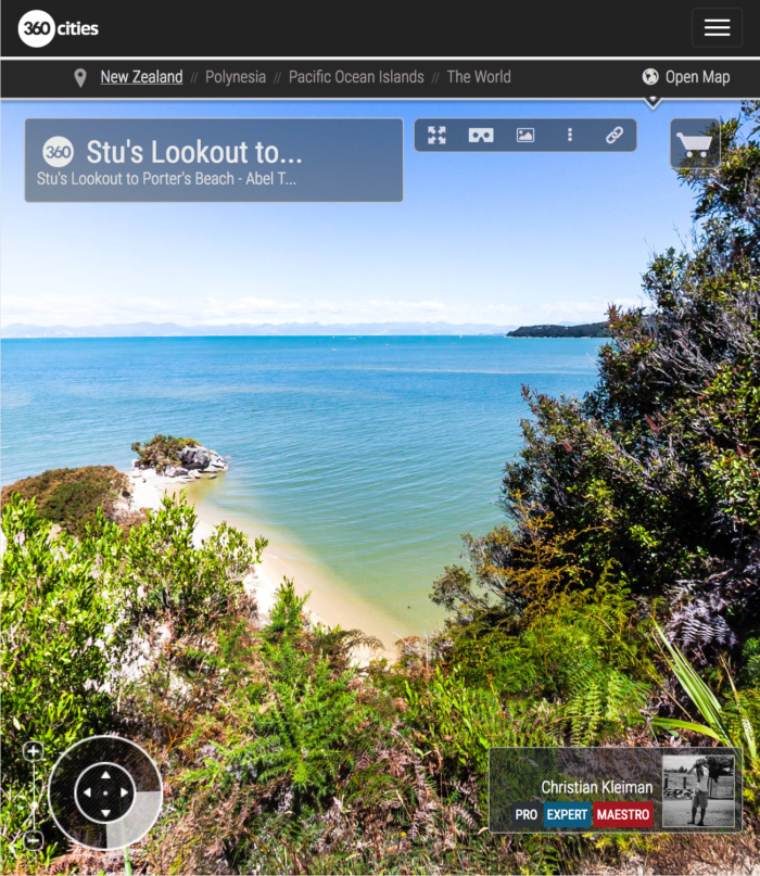Lookout to Porter's Beach - Abel Tasman National Park, New Zealand - 360 VR Pano Photo
