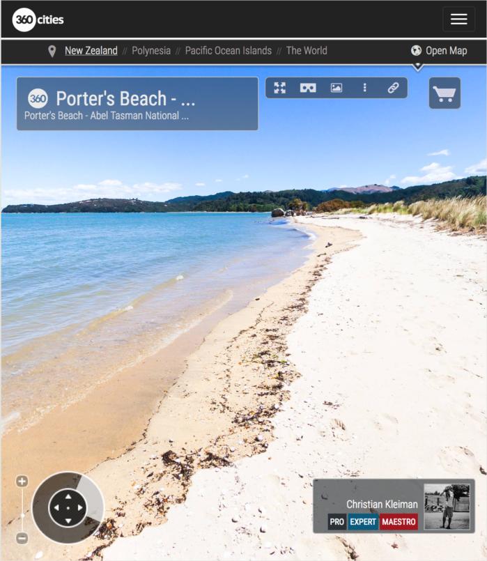 Playa de Porter - Parque Nacional Abel Tasman, Nueva Zelanda - Foto Pano 360 VR