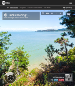 Fila de Patos hacia Playa de Porter - Abel Tasman, Nueva Zelanda - Foto Pano 360 VR