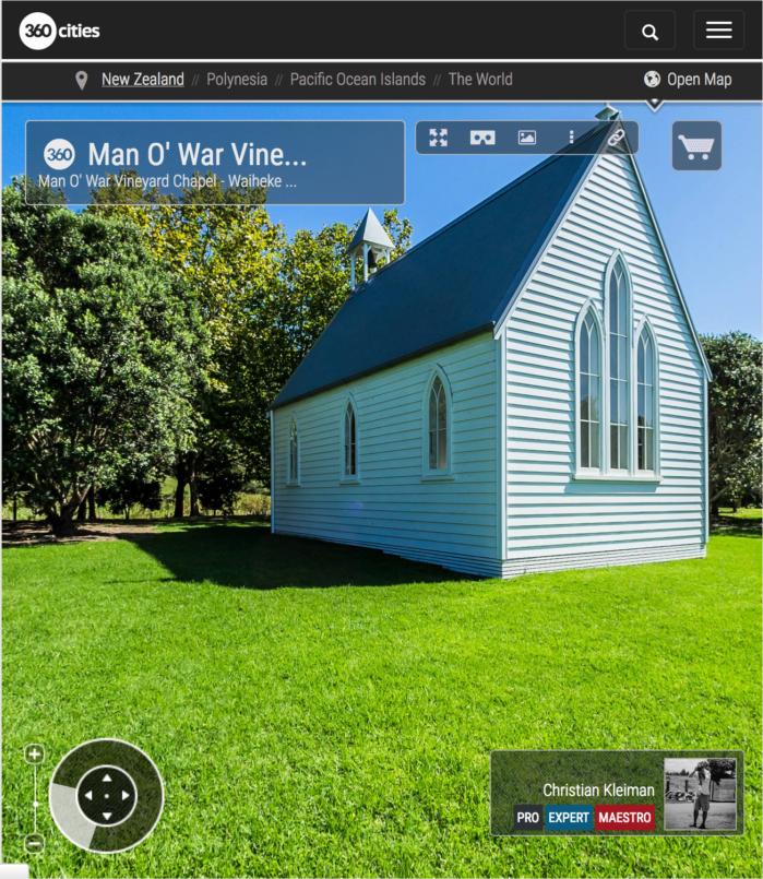 Capilla de los viñedos Man O' War - Isla Waiheke, Nueva Zelanda - Foto Pano VR 360