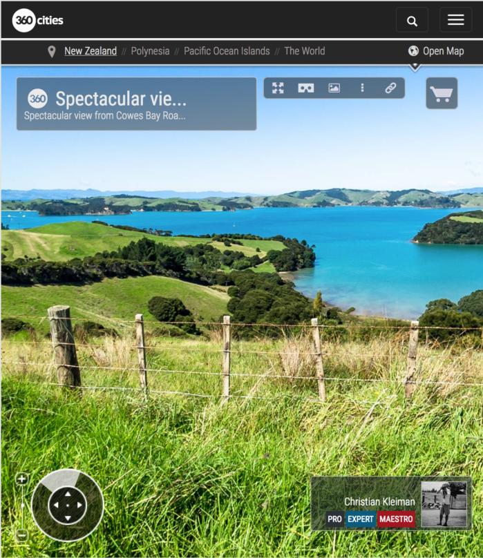 Vista espectacular desde Cowes Bay Road - Isla Waiheke - Nueva Zelanda - Foto Pano VR 360
