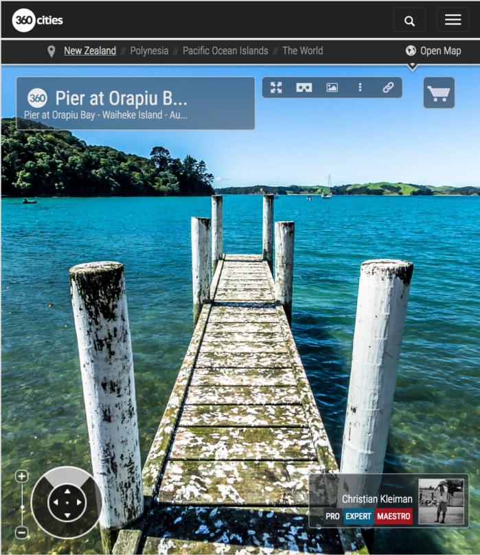 Muelle de Orapiu Bay - Isla Waiheke - Auckland, Nueva Zelanda - Foto Pano VR 360