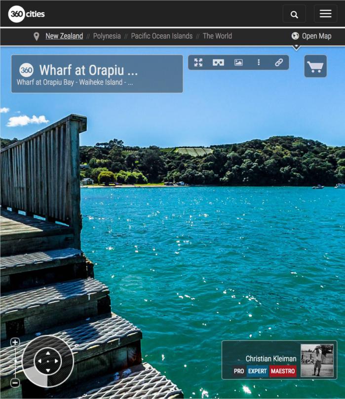 Embarcadero de Orapiu Bay - Isla Waiheke - Auckland, Nueva Zelanda - Foto Pano VR 360
