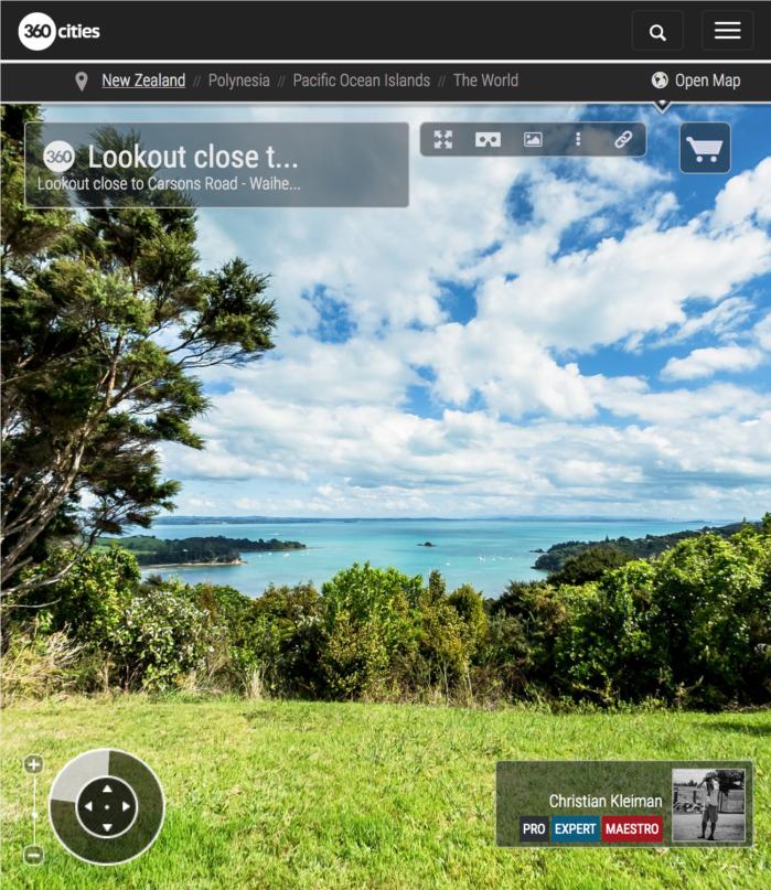Mirador cerca de Carsons Road - Isla Waiheke - Auckland, Nueva Zelanda - Foto Pano VR 360