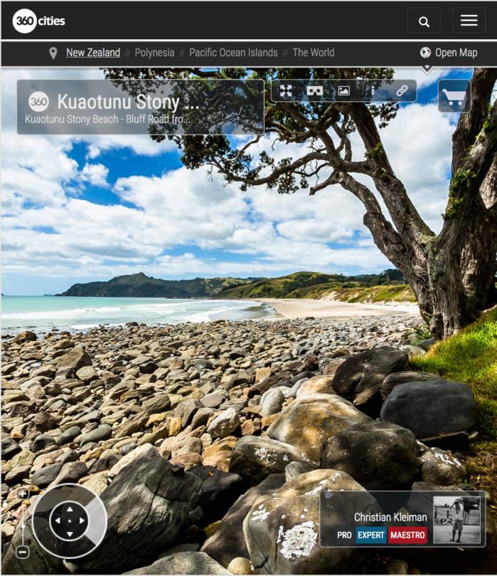 Playa de piedras en Kuaotunu - Coromandel, Nueva Zelanda - Foto Pano 360 VR