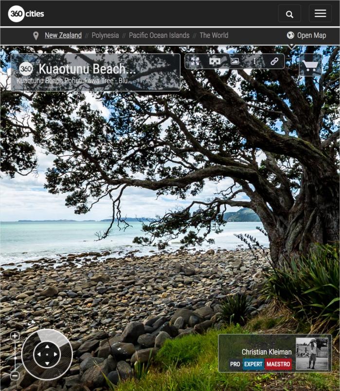 Arbol Pohutukawa en Bluff Road - Coromandel, Nueva Zelanda - Foto Pano 360 VR