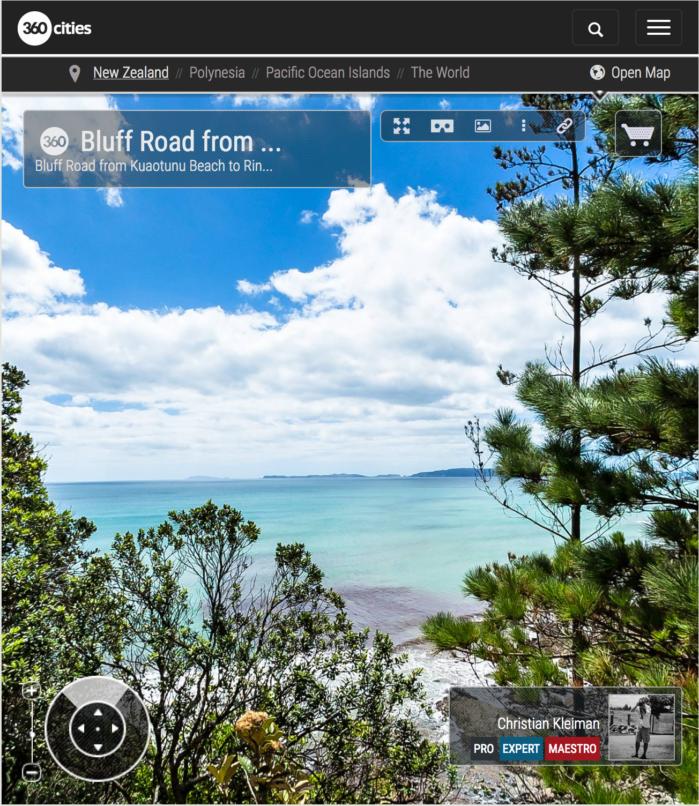 Vista desde Bluff Road - Península de Coromandel, Nueva Zelanda - Foto Pano 360 VR