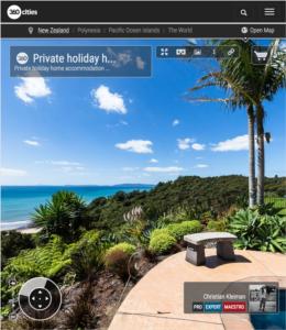 Alojamiento vacacional en Rings Beach - Coromandel, Nueva Zelanda - Foto Pano 360 VR