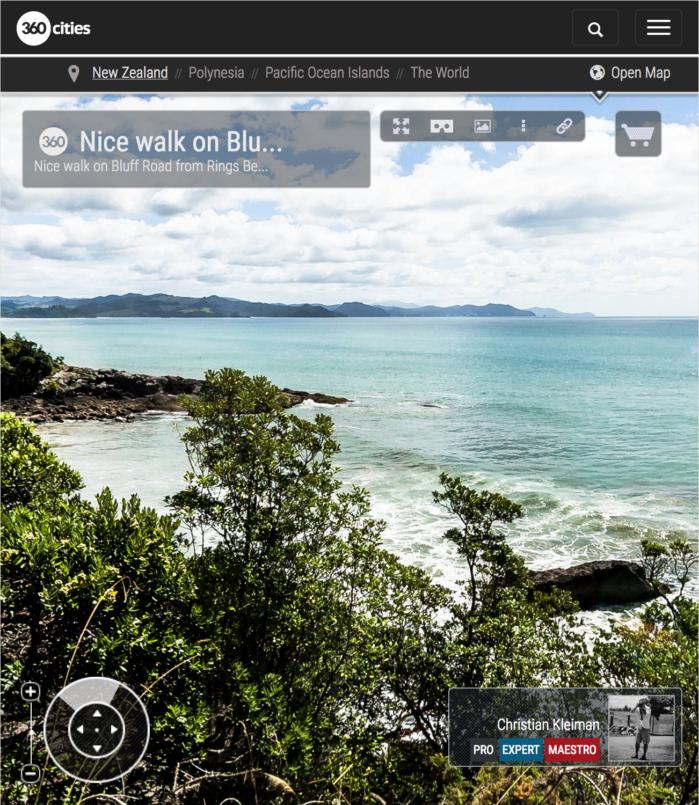Caminando por Bluff Road - Península de Coromandel, Nueva Zelanda - Foto Pano 360 VR