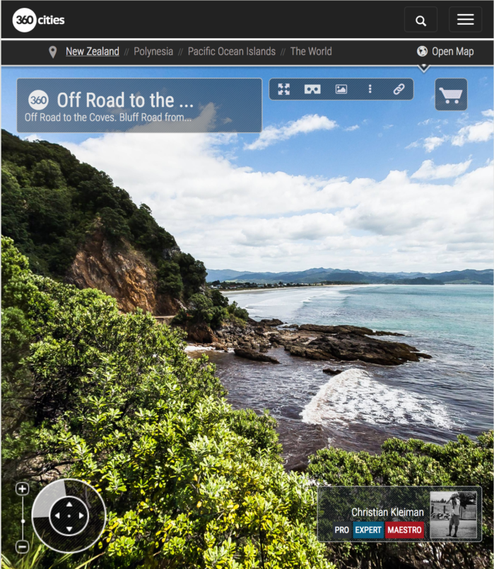 Sendero Costero de Bluff Road - Coromandel, Nueva Zelanda - Foto Pano 360 VR