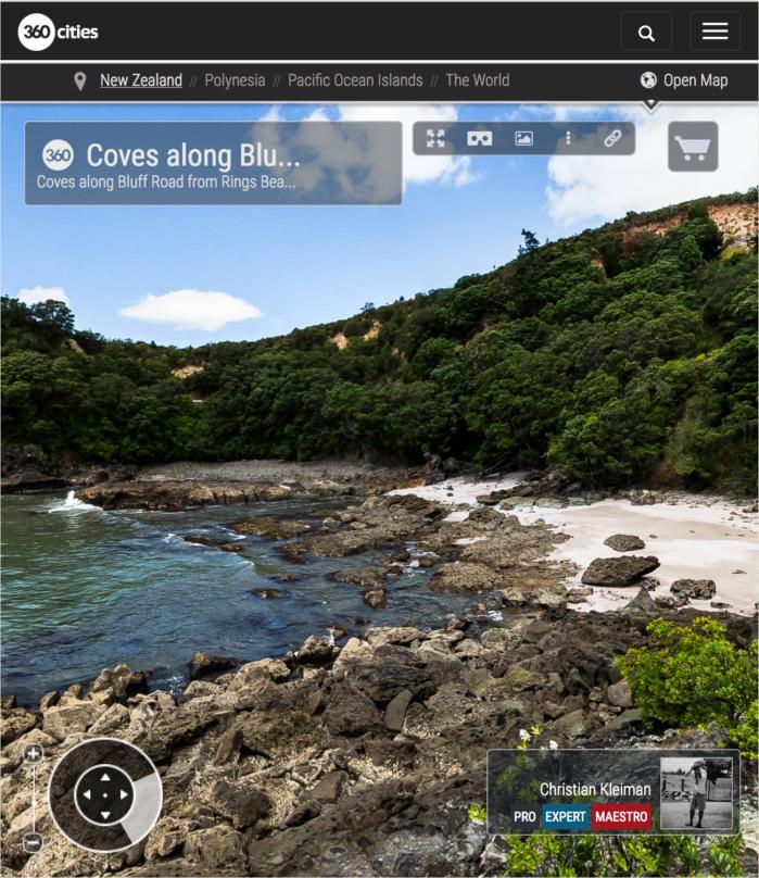 Calas a lo largo de Bluff Road - Coromandel, Nueva Zelanda - Foto Pano 360 VR