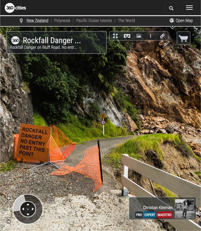 Rockfall Danger on Bluff Road - Coromandel Peninsula, New Zealand - 360 VR Pano Photo