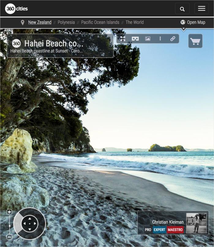 Puesta de Sol en Hahei Beach - Coromandel, Nueva Zelanda - Foto Pano 360 VR