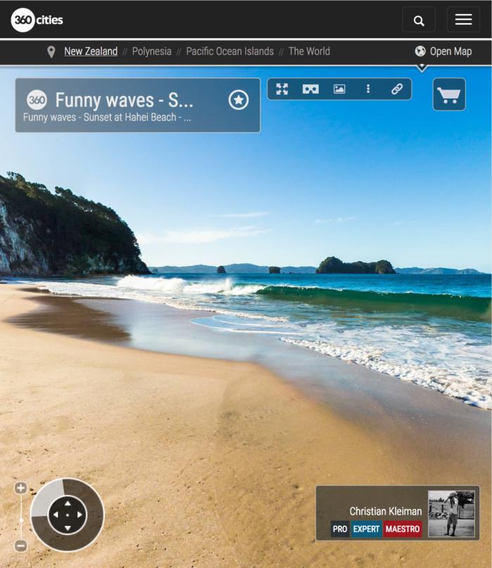 Olas para divertirse en Hahei Beach - Coromandel, Nueva Zelanda - Foto Pano 360 VR