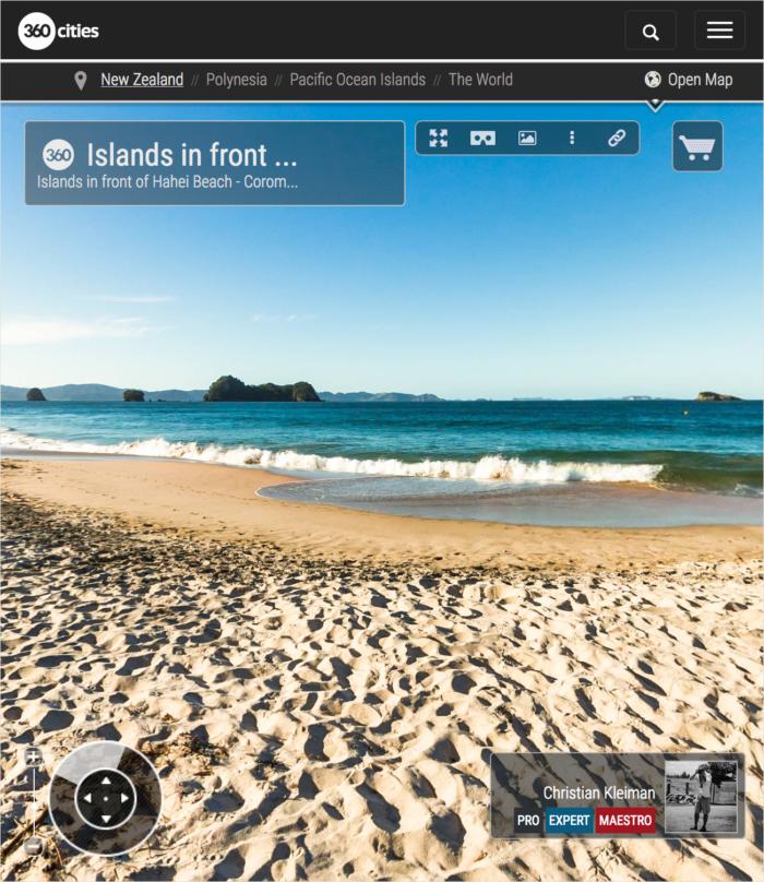 Islands in front of Hahei Beach - Coromandel Peninsula, New Zealand - 360 VR Pano Photo