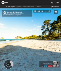 Bello atardecer en la Playa de Hahei - Coromandel, Nueva Zelanda - Foto Pano 360 VR