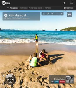 Kids Playing at Hahei Beach - Coromandel Peninsula, New Zealand - 360 VR Pano Photo