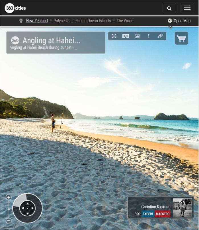 Pesca con caña desde Hahei Beach - Coromandel, Nueva Zelanda - Foto Pano 360 VR
