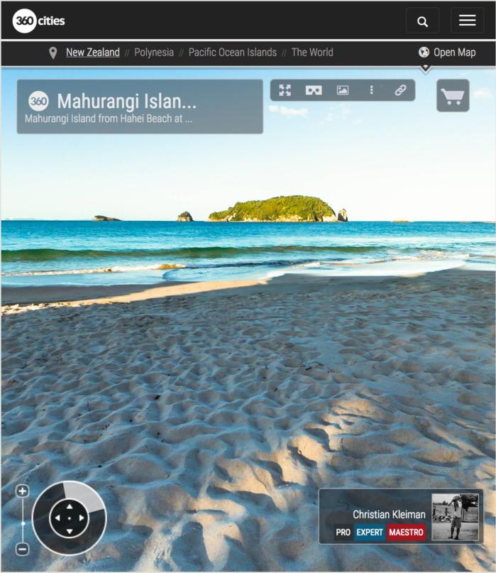 Isla de Mahurangi desde Hahei Beach - Coromandel, Nueva Zelanda - Foto Pano 360 VR