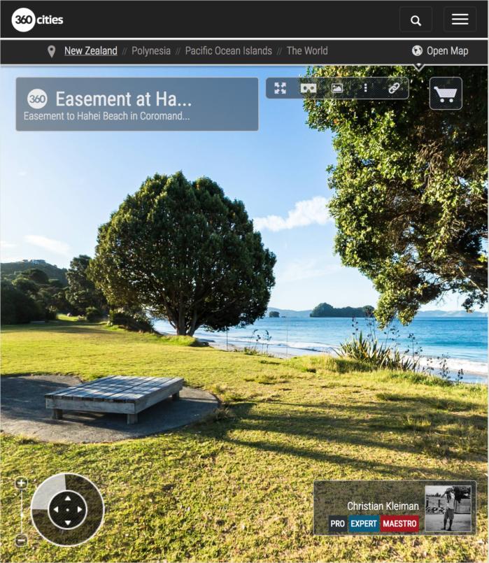 Servidumbre de paso - Playa de Hahei - Coromandel, Nueva Zelanda - Foto Pano 360 VR