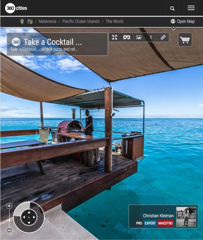 Pizza + Cocktail en Cloud 9 - Islas Fiji - Foto Pano 360 VR