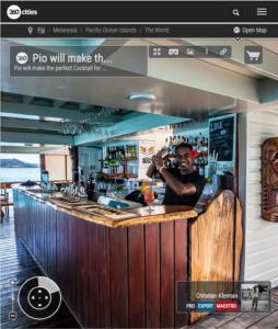 Barman Pio en Cloud 9 Cocktail Bar - Islas Fiji - Foto Pano 360 VR