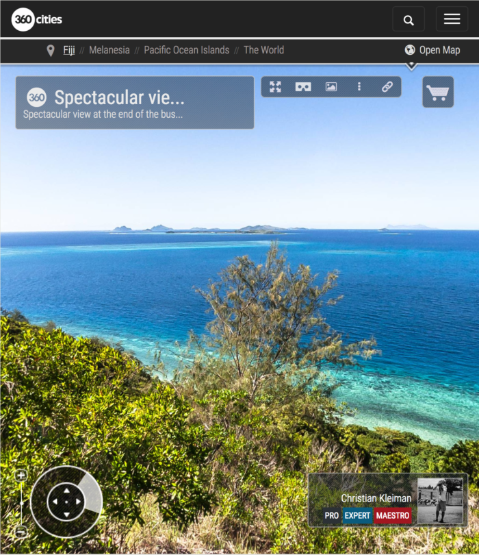 View the Yasawas - Top of Qalito Island - Fiji Islands - 360 VR Pano Photo