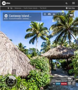 Cabañas de Paja en Castaway Island Resort - Islas Fiji - Foto Pano 360 VR