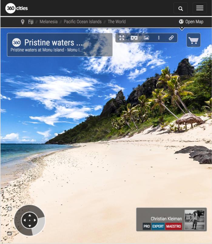 Aguas Cristalinas de la Isla Monu - Islas Fiji - Foto Pano 360 VR