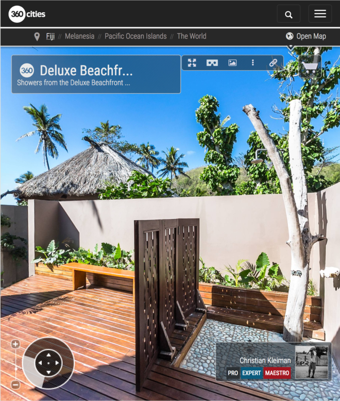 Deluxe Beachfront Bure Shower - Yasawa Island Resort - Fiji - 360 VR Pano Photo
