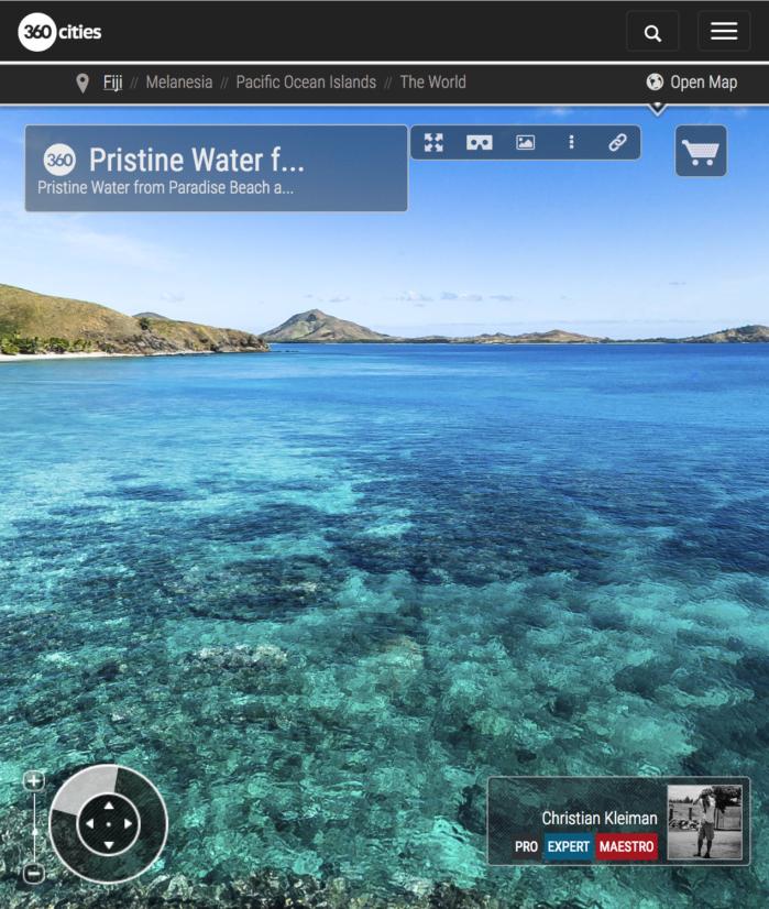 Aguas Cristalinas de Paradise Beach en Yasawa - Islas Fiji - Foto Pano 360 VR