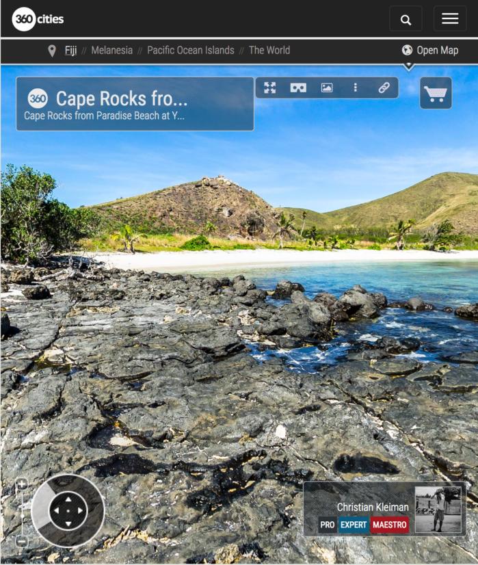Cabo Rocoso de Paradise Beach en Yasawa - Islas Fiji - Foto Pano 360 VR