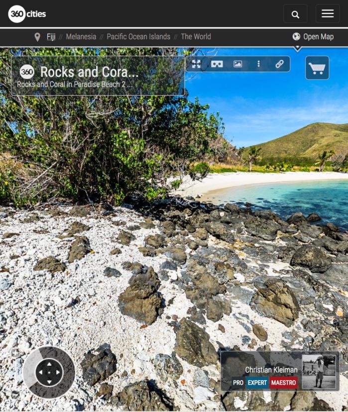 Rocas y Coral de Paradise Beach en Yasawa - Islas Fiji - Foto Pano 360 VR