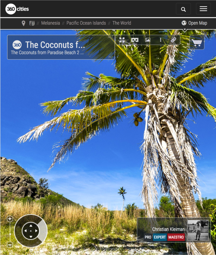 The Coconuts from Paradise Beach at Yasawa Island - Fiji Islands - 360 VR Pano Photo