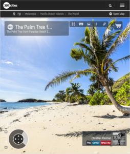 The Palm Tree on Paradise Beach at Yasawa Island - Fiji Islands - 360 VR Pano Photo