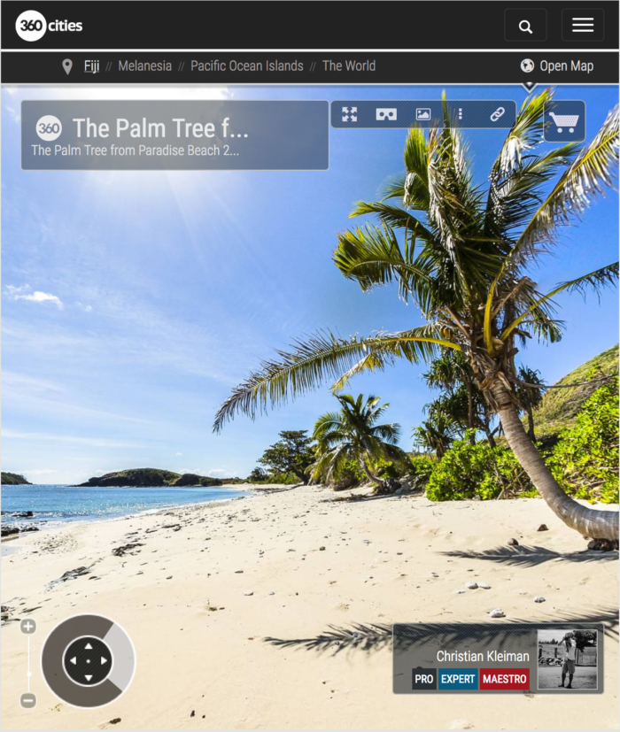 The Palm Tree on Paradise Beach at Yasawa Island - Fiji Islands - 360 VR Pano Photo