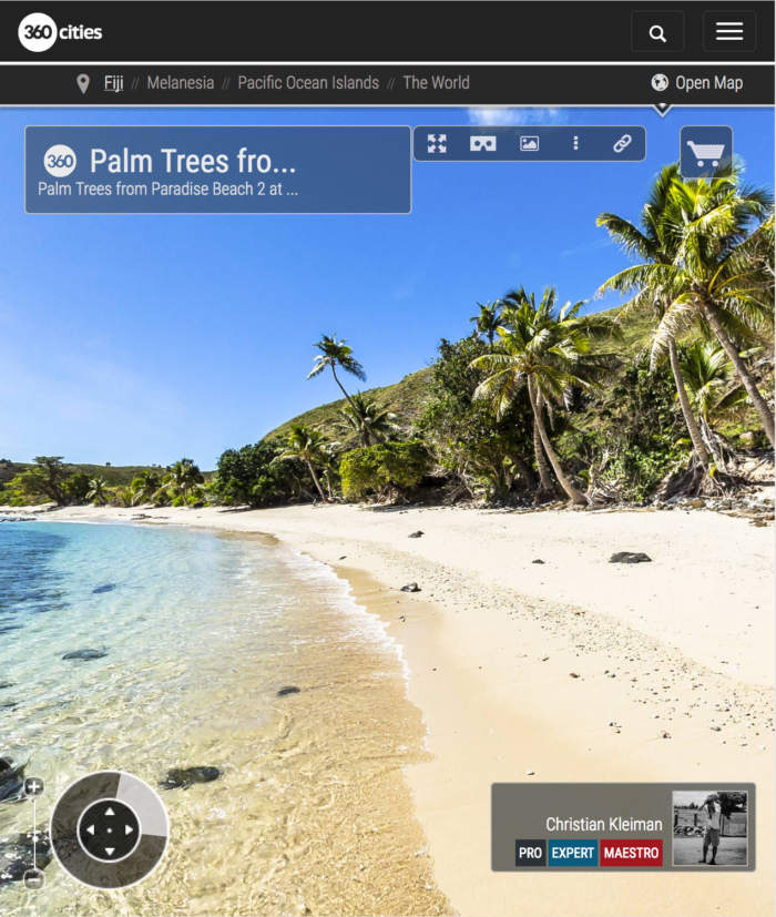 Palm Trees on Paradise Beach at Yasawa Island - Fiji Islands - 360 VR Pano Photo