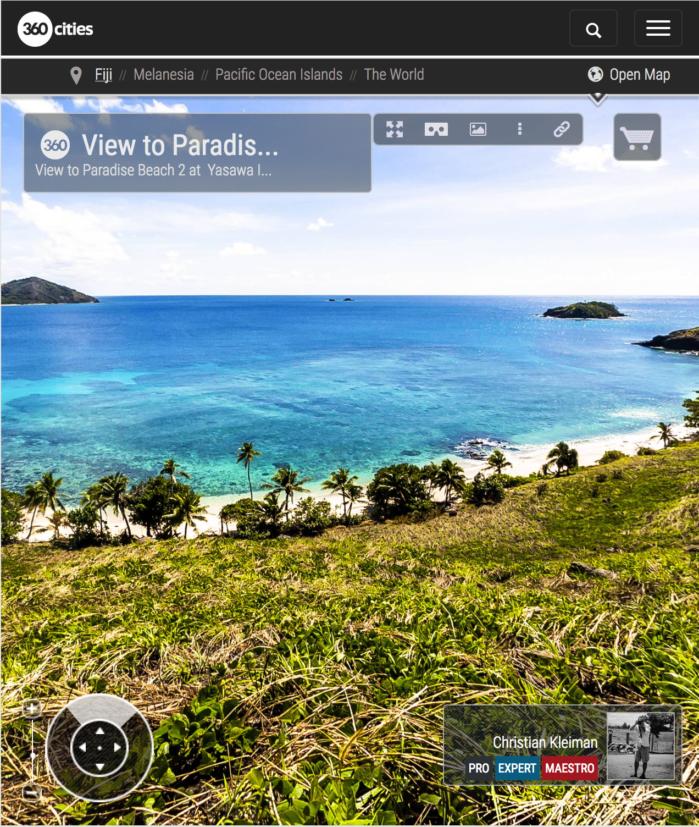 Vista de Paradise Beach 2 de Yasawa Island Resort - Fiji - Foto Pano 360 VR