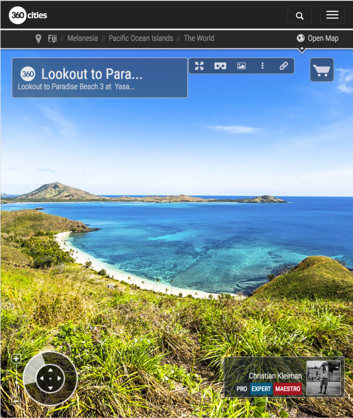 View to Paradise Beach 3 from Yasawa Island - Fiji Islands - 360 VR Pano Photo
