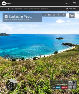 Lookout to Paradise Beach 2 from Yasawa Island - Fiji Islands - 360 VR Pano Photo