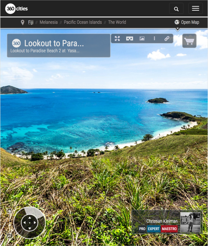Lookout to Paradise Beach 2 from Yasawa Island - Fiji Islands - 360 VR Pano Photo