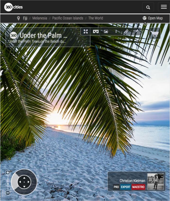 Beach Palm Trees at Sunset - Vomo Island Resort - 360 VR Pano Photo