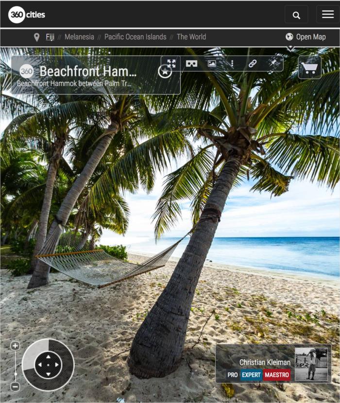 Beachfront Hammok at Vomo Island Resort, Fiji - 360 VR Pano Photo