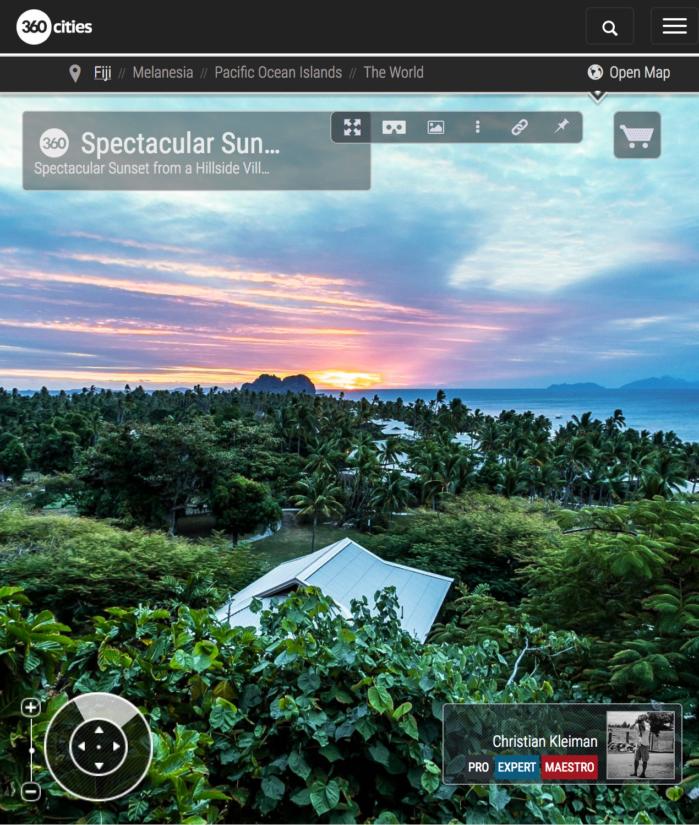 Puesta de Sol desde una Villa de Vomo Island Resort - Foto Pano 360 VR
