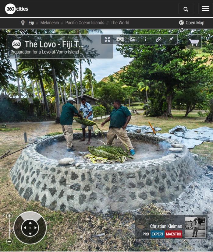 Preparación del Lovo en Vomo Island Resort, Fiji - Foto Pano 360 VR