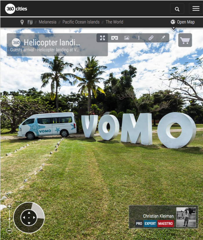Helicopter landing at Vomo Island Resort, Fiji - 360 VR Pano Photo
